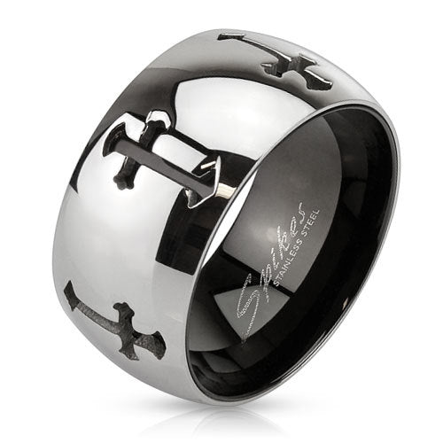 Stainless Steel 2 Tone Inner Black IP Band Ring With Grooved Crosses