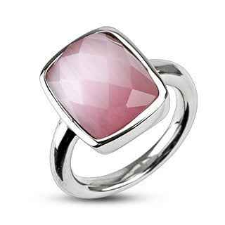 Stainless Steel 316L Multi Faceted Square Pink Cat Eye Ring