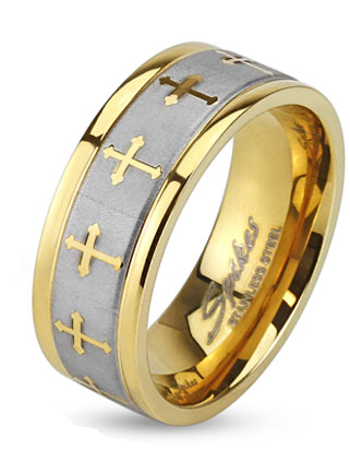 Stainless Steel 2 Tone 6mm Celtic Cross Gold IP Ring with Brushed Center