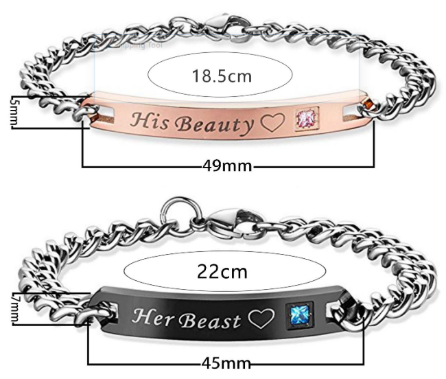 His Beauty Her King Stainless Steel Couples Bracelet Set with a Gift Box