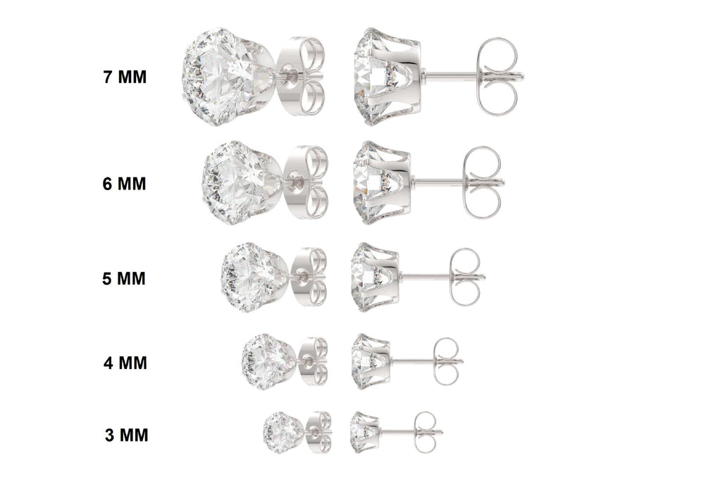 Women's Round Clear Cubic Zirconia (CZ) Stainless Steel Stud Earring 10 Pairs Assorted Sizes