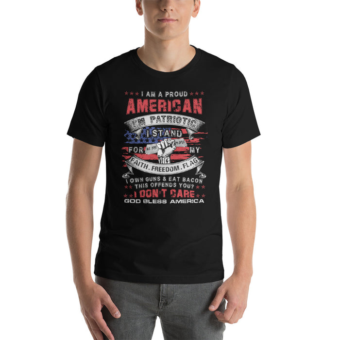 I am a Proud American Patriotic Short-Sleeve Unisex T-Shirt for Men or Women