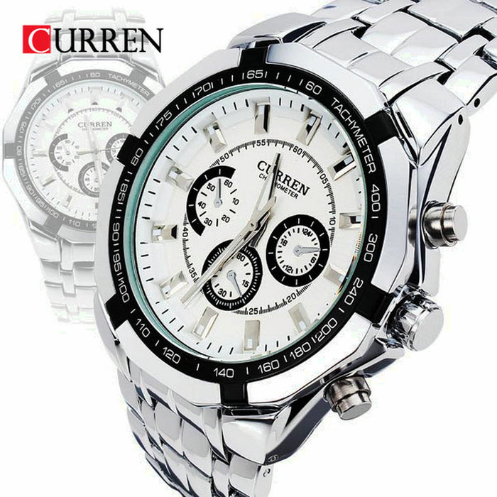 Flashy Trends Curren Brand Men's Stainless Steel Military Waterproof Sport Wrist Watch