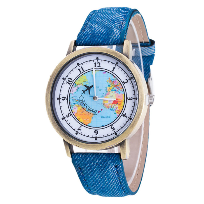 Flashy Trends Women's Fashion World Map Analog Quartz Wrist Watch in 7 Colors