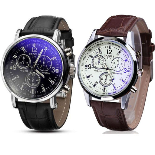 Flashy Trends 2PC Men's Glass Quartz Analog Watches