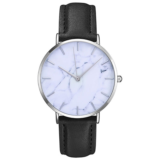 Women's Clock Ladies Fashion Simple Stylish Marble Mirror Dial Watches Men Women Slim Leather Analog Classic Casual Wrist Watch