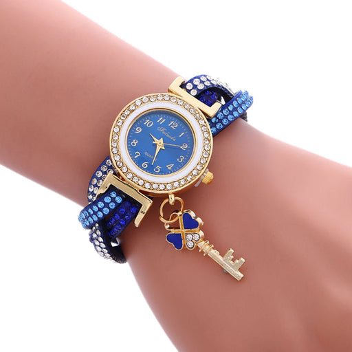 Flashy Trends Woman's Luxury Wrist Watch with Wrap Around Padlock & Simulated Diamond Bracelet