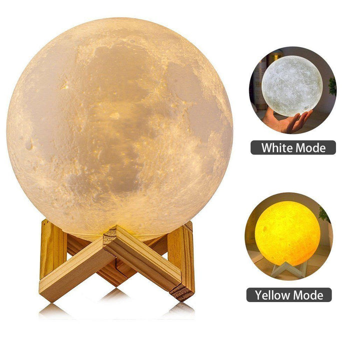 Flashy Trends LED Night Light 3D Printing Moon Lamp with Dim Touch Control & USB Charging
