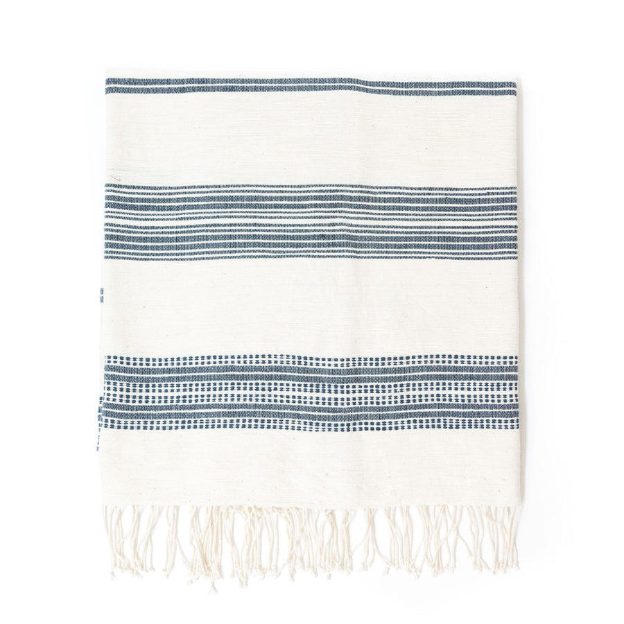 Alanya Bath Towel, Natural with Navy