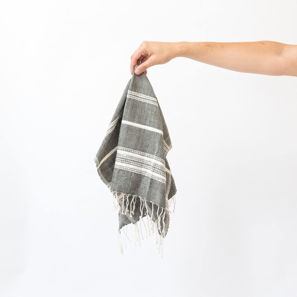 Alanya Hand Towel, Grey with Natural