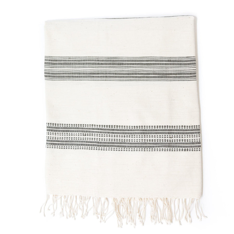 Alanya Bath Towel, Natural with Grey