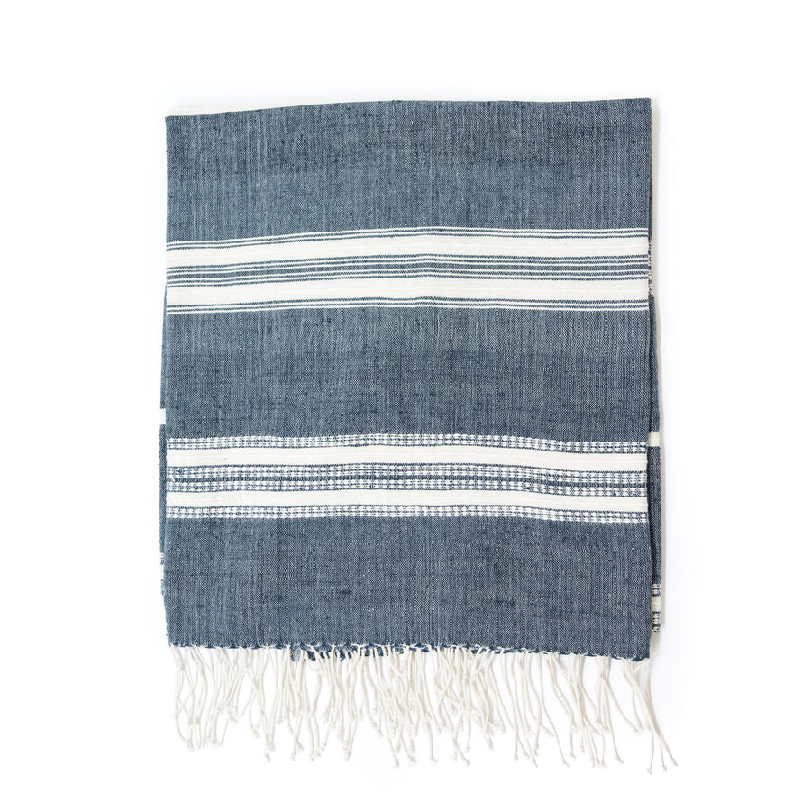 Alanya Bath Towel, Navy with Natural