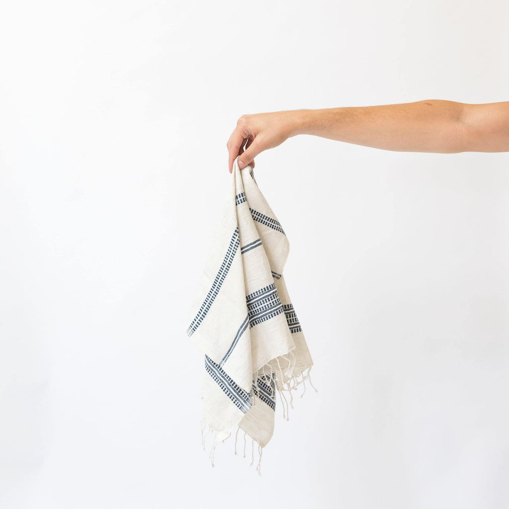 Alanya Hand Towel, Natural with Navy