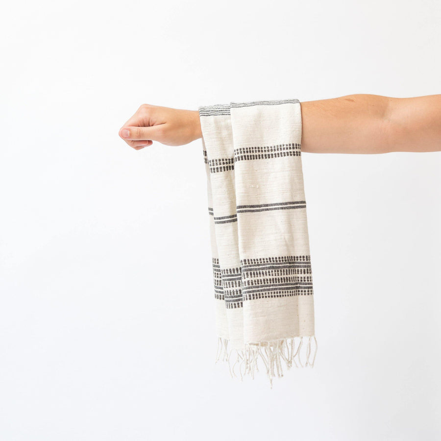 Alanya Hand Towel, Natural with Grey
