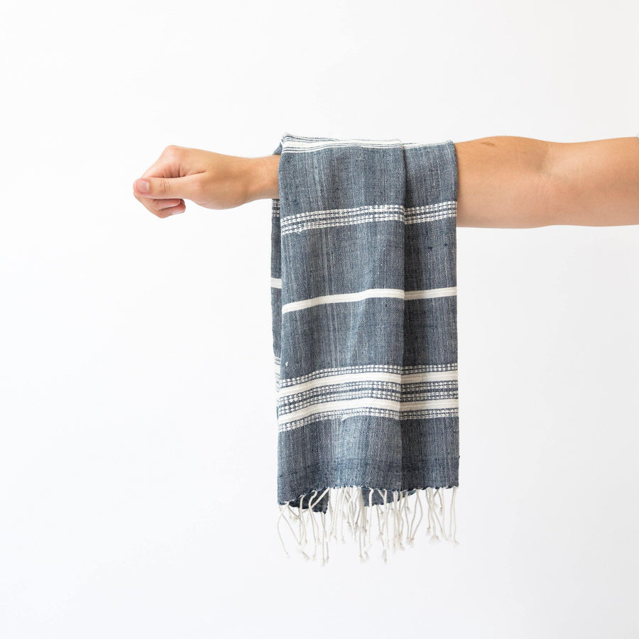 Alanya Hand Towel, Navy with Natural