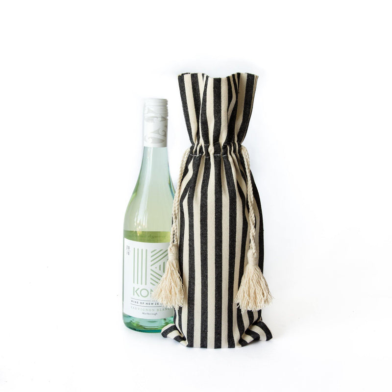 Jared Cotton Striped Wine Bag with Tassels