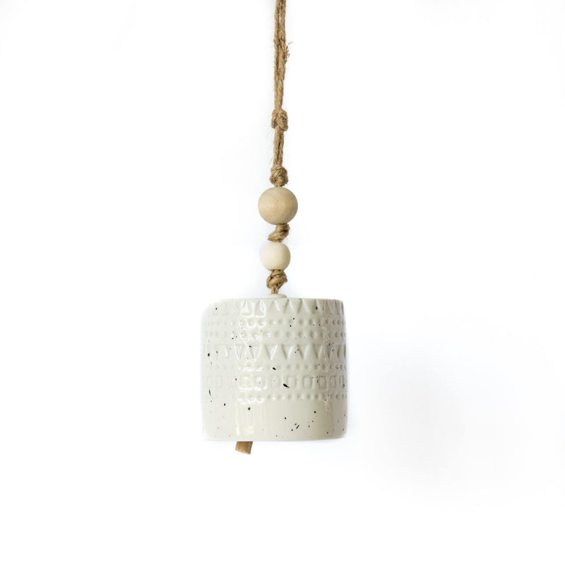 Kinsey Stoneware Bell in White with Wood Bead