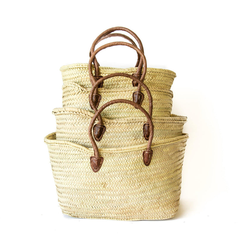 Ezra Hand Woven Moroccan Baskets with Leather Handle