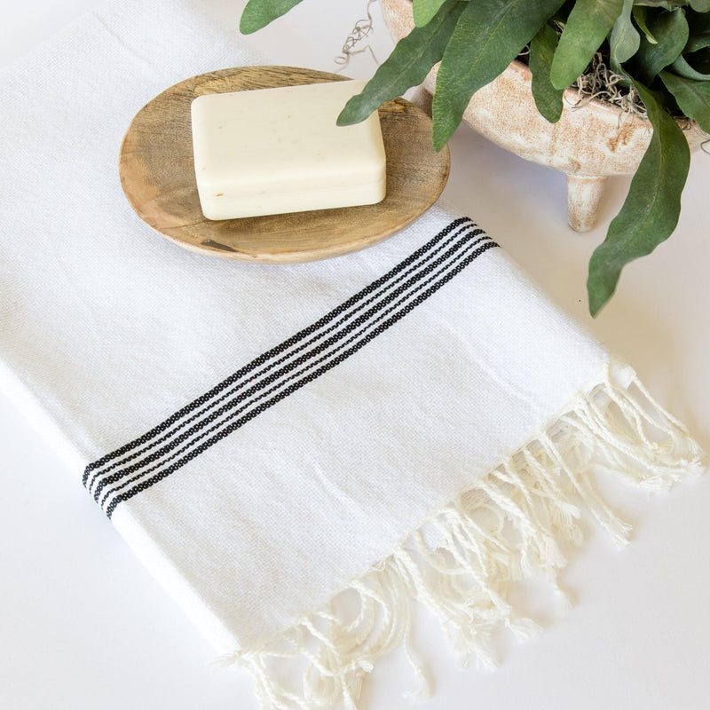 Aaliyah Hand-Loomed Cotton Bath Towel with Fringe