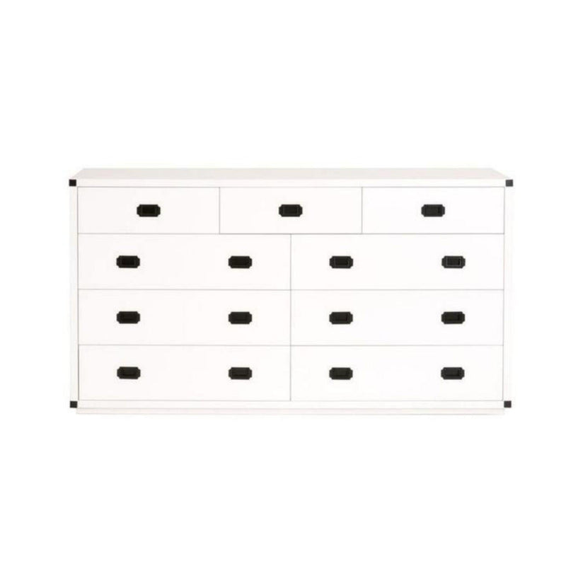 Barrett 9 Drawer Media Dresser, White & Black