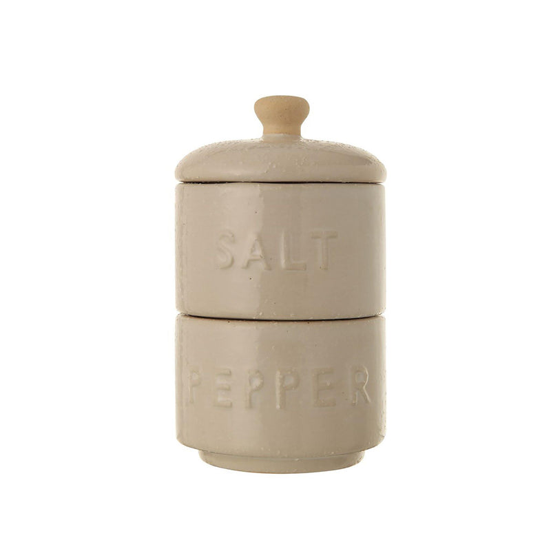 Lukas Stoneware Stackable Salt & Pepper Pots w/ Lid