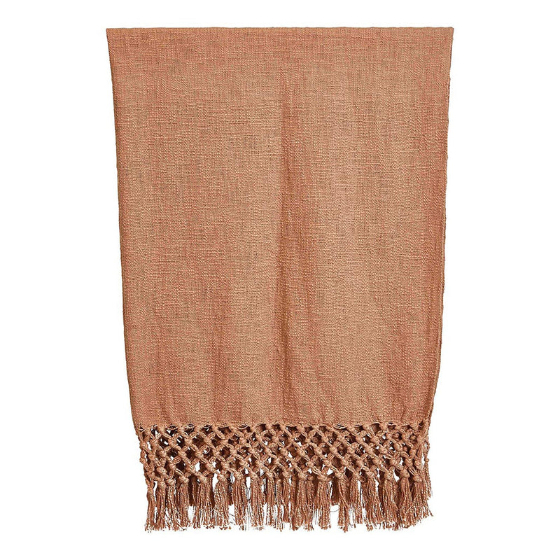 Irene Woven Cotton Throw with Crochet & Fringe in Putty
