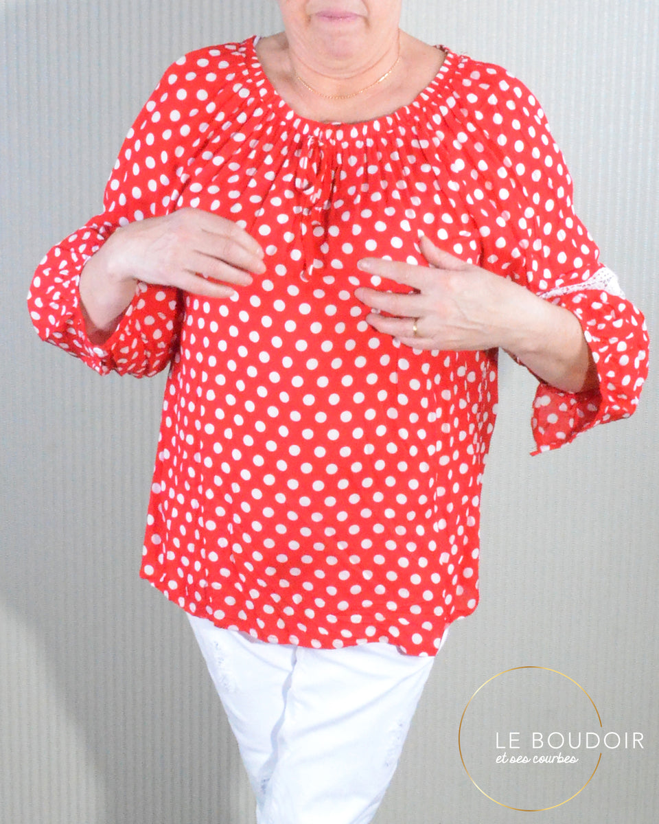 factory price fresh styles stable quality Blouse bohème rouge à pois blanc