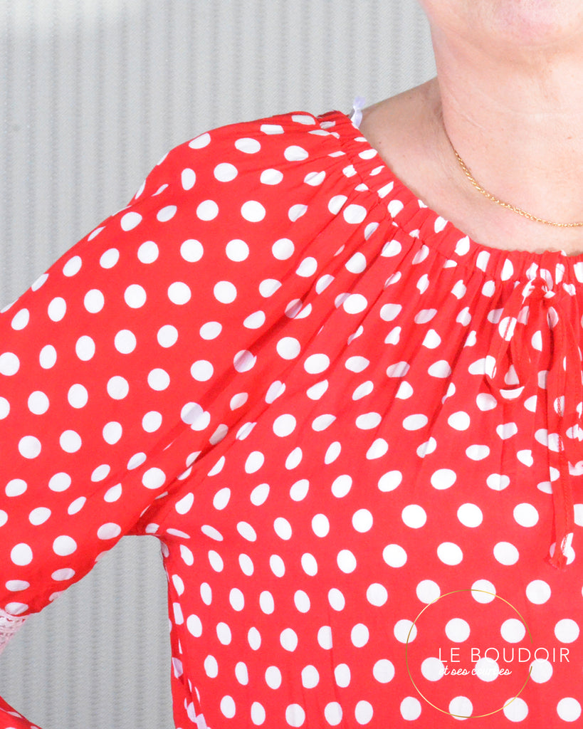 another chance another chance preview of Blouse bohème rouge à pois blanc – Le boudoir et ses courbes