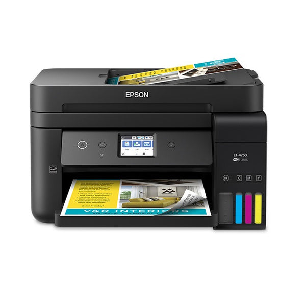 Epson WorkForce ET-4750 EcoTank Wireless Color All-in-One Supertank Printer  with