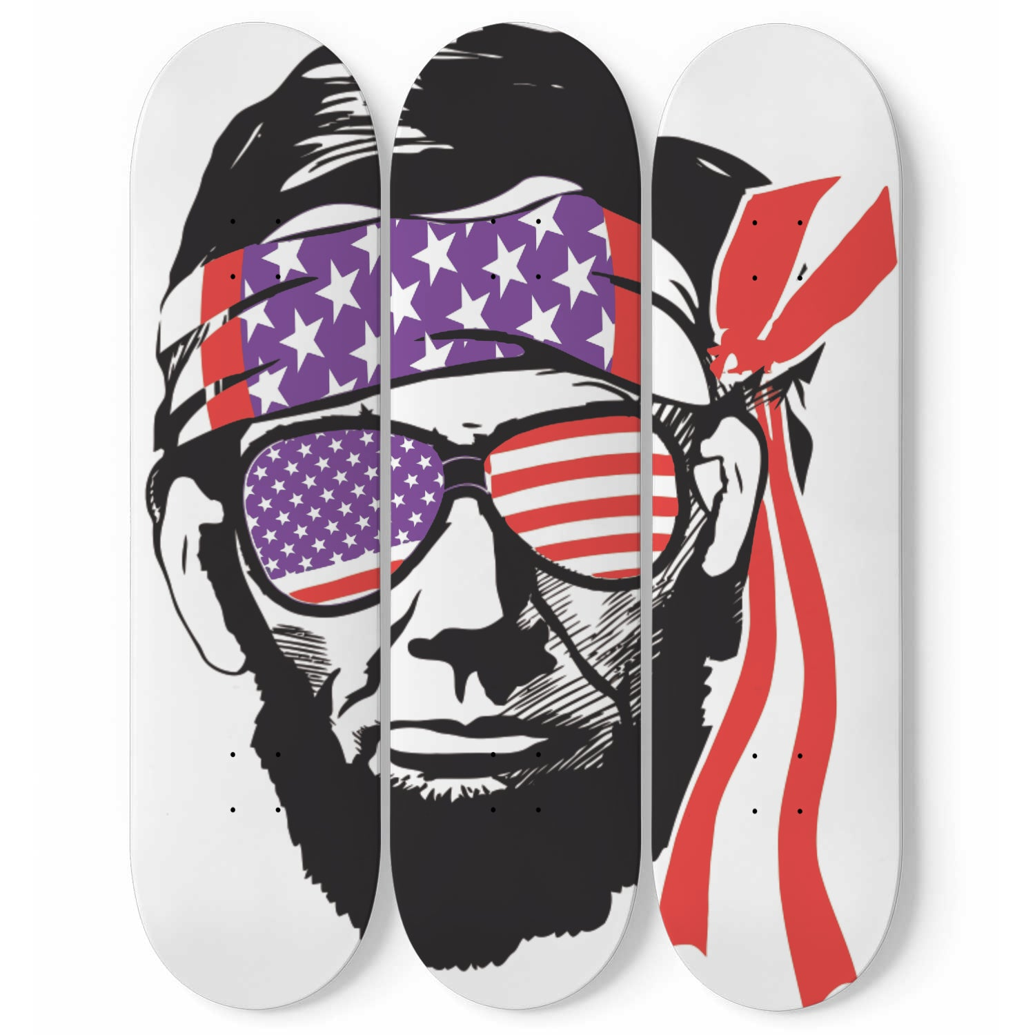 American Flag Portrait - Skateboard art mural