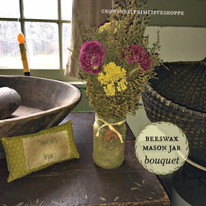 Beeswax Mason Jar Flower Bouquet