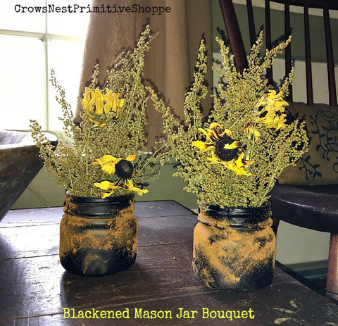Prim Blackened Mason Jar Bouquet