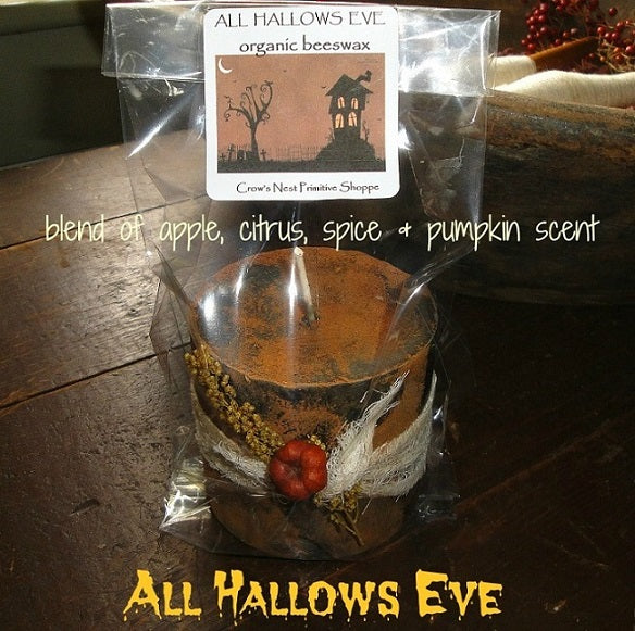 Blackened Beeswax Pillar Candle-All Hallows Eve