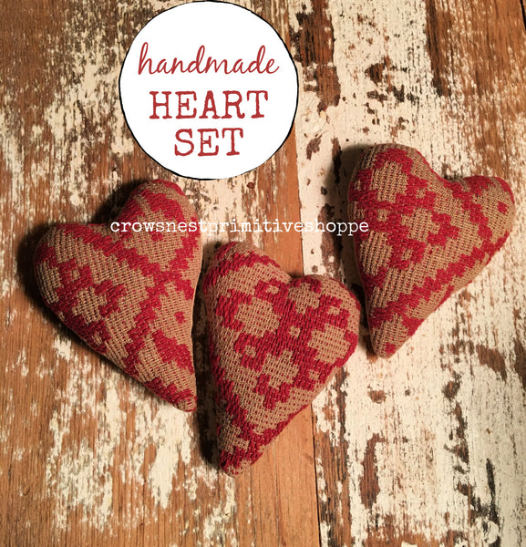 Fabric Bowl Filler Set- Hearts