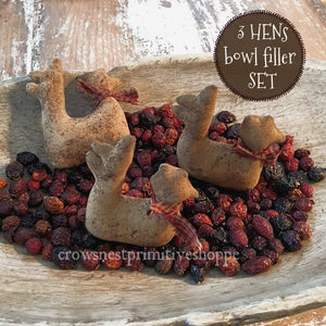 Fabric Bowl Filler Set- Hens