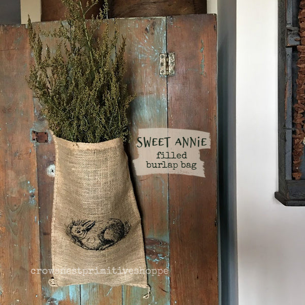 Large Bunny Print Burlap Bag with Sweet Annie