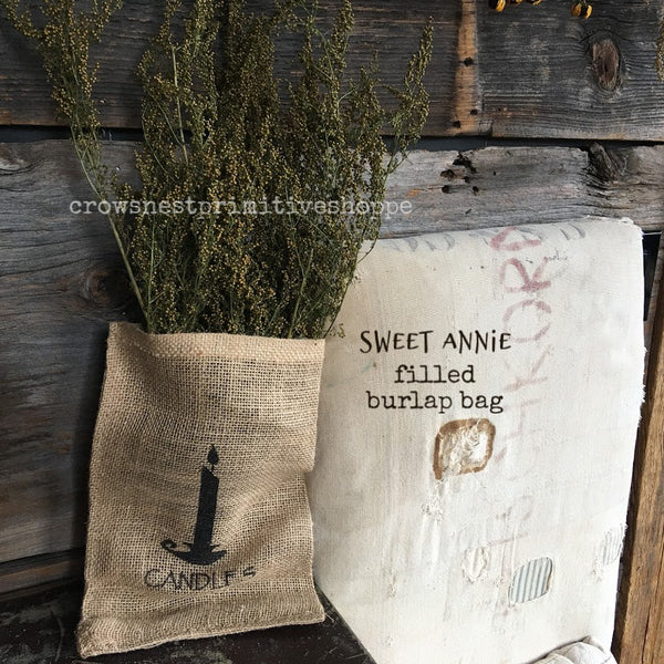 Candle Print Burlap Bag with Sweet Annie