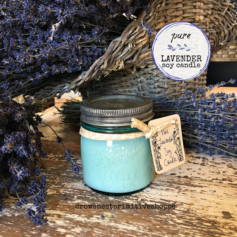 Candle-Soy 8 ounce Blue Mason Jar Limited Edition