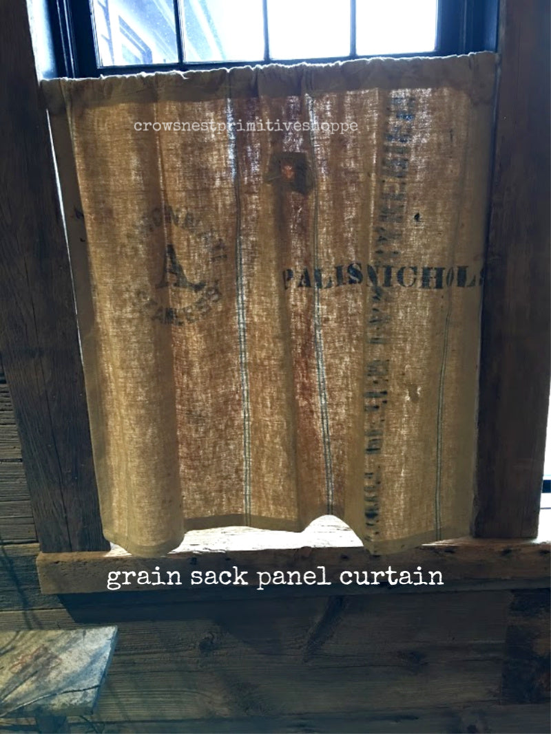 Handmade Grain Sack Panel Curtain
