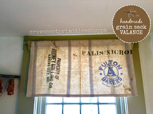 Handmade Grain Sack Valance Curtain