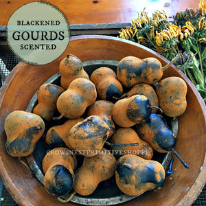 Blackened Beeswax Dipped Gourds