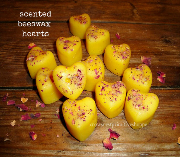 Scented Beeswax Heart Shaped Melts