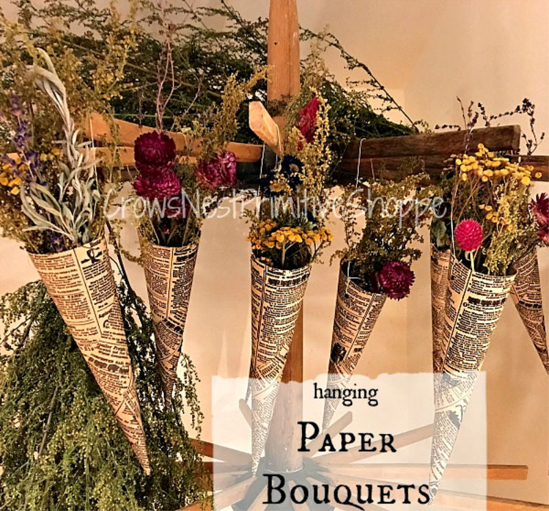 Hanging Paper Bouquet with Flowers