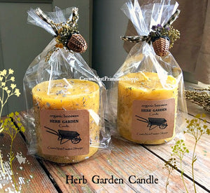 Beeswax Pillar Candle with herb garden basket