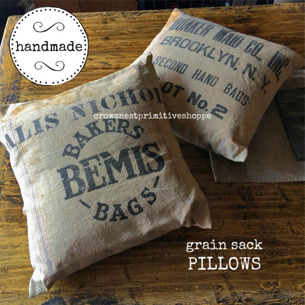 Pillow- Grain Sack with Removable Cover