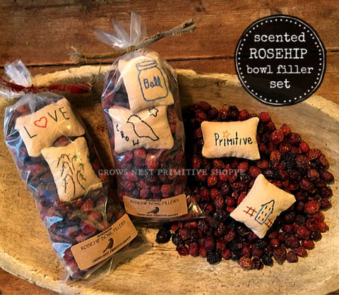 Scented Rosehip Bowl Filler Set-Primitive Pillows