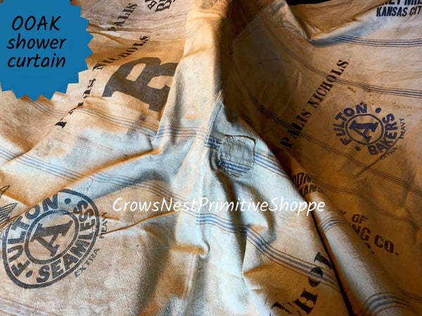 Handmade Grain Sack Shower Curtain