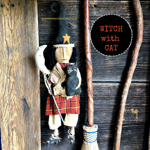 Handmade Witch Doll with Cat and Moon Broom