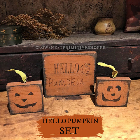 Wooden Sign- Hello Pumpkin Set