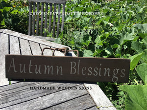 Wooden Sign- Autumn Blessings